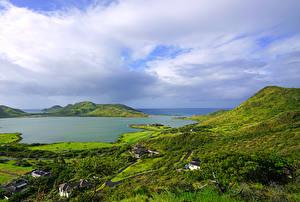 Картинки Тропический Дома Заливы Холм Christophe Harbour Saint Kitts Caribbean Природа