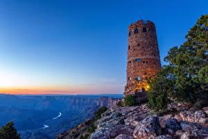 Фотография США Гранд-Каньон парк Парки Маяки Горы Рассветы и закаты Природа