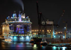 Картинки США Пристань Корабли Круизный лайнер Флорида Ночь Уличные фонари Fort Lauderdale Города