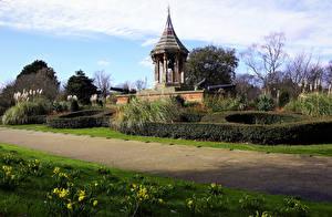 Картинка Великобритания Парки Весна Кусты Nottingham Arboretum Природа