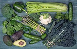 Фото Овощи Огурцы Перец Авокадо Продукты питания