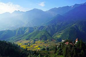 Фотография Вьетнам Горы Поля Здания Muong Hoa Valley Sapa Природа