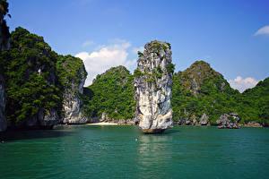 Фотография Вьетнам Тропики Залив Скала Lan Ha Bay Природа