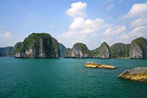 Фотографии Вьетнам Тропики Залив Скале Lan Ha Bay Природа