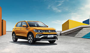 Обои Volkswagen Желтых 2019 T-Cross 280 TSI Автомобили