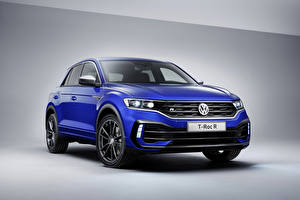 Картинки Volkswagen Синий 2019 Volkswagen T-Roc R Worldwide машина