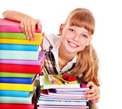 Картинки Белый фон Девочки Улыбка Книга Взгляд Тетрадь Ребёнок