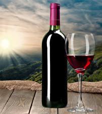 Картинки Вино Доски Бутылки Бокалы Продукты питания