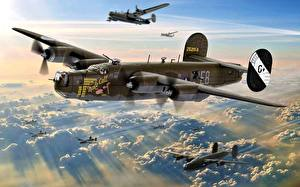 Фотография Самолеты Бомбардировщик Рисованные Летящий Американский B-24 8th Air Force 453rd BG 734th BS Jimmy Stewart ''Male Call'' Авиация