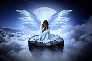 Фото Ангелы Облако Луной Скалы Сидит Крылья Грусть Девушки