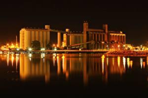 Фотографии Австралия Ночью Заливы Port Augusta, Spencer Bay город