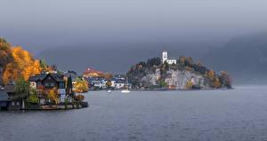 Фотография Австрия Осень Озеро Здания Церковь Скала Traunkirchen, Traunsee, Gmunden County город