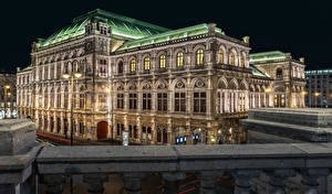 Фотографии Австрия Вена Дома В ночи Уличные фонари State Opera