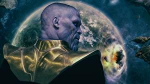 Картинки Мстители: Война бесконечности Лысые Вид сзади Thanos Фильмы