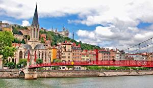 Картинка Мосты Здания Реки Франция Церковь Lyon St George's Bridge Fourviere Hill город