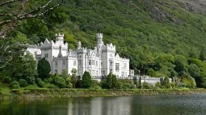 Обои Замок Монастырь Озеро Ирландия Kylemore город