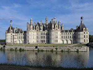 Фото Замки Река Франция Памятники Chambord castle, Loire river Города