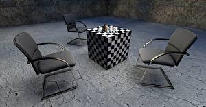 Обои Шахматы Кресло Кубики 3D Графика