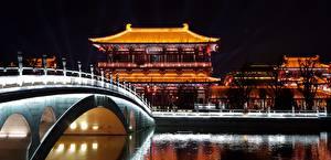 Фотографии Китай Мост Здания Ночью Tang Paradise Park, Xian Города