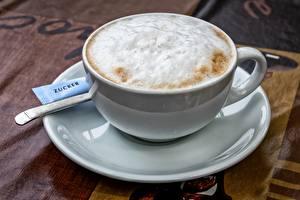Фотографии Кофе Капучино Чашка Пена Блюдце Продукты питания