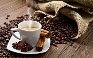 Картинки Кофе Корица Пары Зерна Чашке Блюдце Еда
