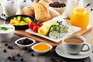Фото Кофе Сок Повидло Мед Хлеб Сыры Томаты Завтрак Чашке Стакана Пища