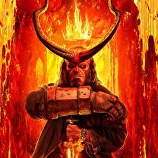 Картинка Корона Огонь Демоны С рогами Руки Hellboy 2019 кино