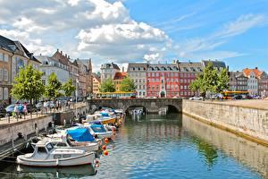 Картинки Дания Копенгаген Дома Катера Водный канал Города