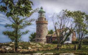 Картинки Дания Здания Маяк Дерева HDRI Hammeren Lighthouse Природа