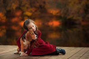 Фото Собаки Бигля Объятие Девочка Ekaterina Borisova Дети Животные