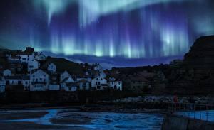 Фотографии Англия Дома Ночные Село Северное сияние Yorkshire Природа