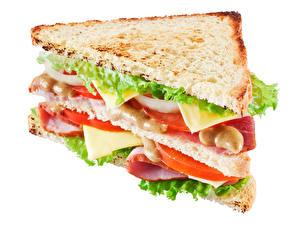 Картинка Фастфуд Сэндвич Хлеб Крупным планом Белым фоном