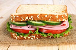 Обои Фастфуд Сэндвич Хлеб Колбаса Овощи