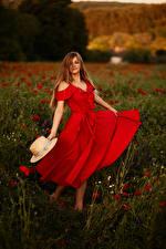 Обои Поля Шатенки Шляпа Платье молодая женщина