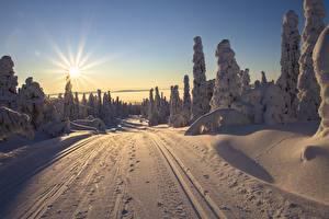 Картинка Финляндия Лапландия область Рассвет и закат Дороги Зимние Пейзаж Солнца Лучи света Снега