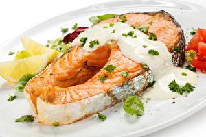 Фотографии Рыба Лососи Сливками Продукты питания