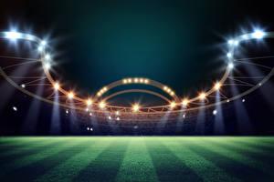 Фото Футбол Вечер Стадион Газон Лучи света спортивные