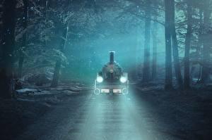 Картинки Леса Железные дороги Поезда Дерева Рельсы Туман Фэнтези
