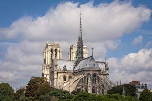 Фото Франция Собор Религия Париж Notre Dame