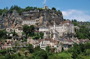 Обои Франция Горы Здания Утес Rocamadour Города