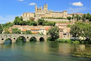 Фотографии Франция Река Мосты Собор Bezier, river Orb, Saint-Nazaire город