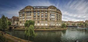 Фотография Франция Страсбург Дома Реки Пирсы город