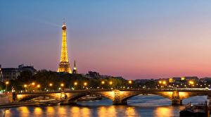 Картинка Франция Рассветы и закаты Мосты Речка Эйфелева башня Башни Париж river Seine Города