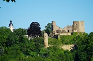 Фото Германия Замки Крепость Развалины Frauenstein, Saxony, Eastern Ore Mountains город