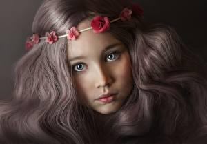 Обои Взгляд Милые Красивый Русых Волосы Лицо Девочки Дети