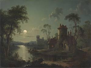 Обои Дома Озеро Живопись Луна Дерева River Scene (1840) by Sebastian Pether