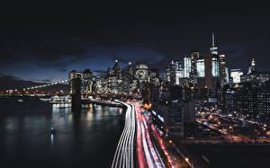 Картинка Дома Дороги США Побережье Ночь Нью-Йорк Манхэттен Города