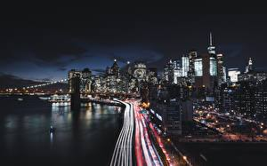 Картинка Дома Дороги США Побережье Ночь Нью-Йорк Манхэттен