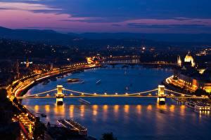 Фотография Венгрия Будапешт Речка Мост Ночью Danube, Chain bridge section город