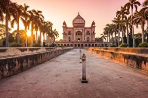 Фотографии Индия Рассвет и закат Пальма tomb of safdarjung, Delhi, mausoleum Города